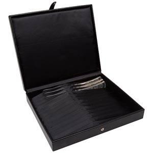 Boîte pour coutellerie pour 12x couteaux Similicuir noir 280 x 235 x 55