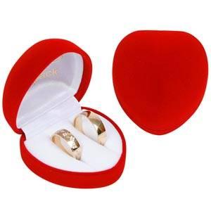 Baltimore sieradendoosje trouwringen, hartvormig Rood geflockt kunststof / Wit velours interieur 57 x 59 x 39 (52 x 50 x 38 mm)