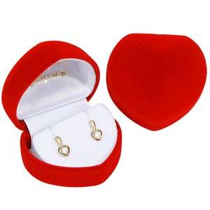 Baltimore Heart-shaped Jewellery Box for Earrings Red Flocked Plastic / White Velour Interior 50 x 45 x 38 (46 x 36 x 31 mm)