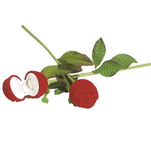 róża z łodyżkąopakowanie na pierścionek Czerwony welur/ biała  welurowa wkładka 43 x 46 x 280