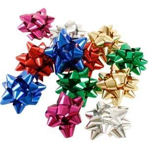 100 metallic stjärnor (små) Blandade färger  Ø 25 mm