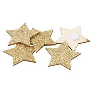 Étoiles adhésives pailletées, 96 pcs Bois avec paillettes dorées  35 mm