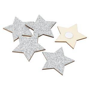 Étoiles adhésives pailletées, 96 pcs Bois avec paillettes d'argents  35 mm