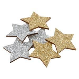 Étoiles adhésives pailletées, 96 pcs bois avec paillettes d'argent et d'or  35 mm