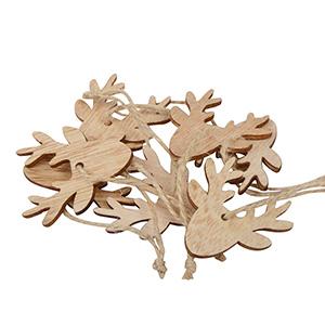 Rensdyr i træ på rustik snor, 24 stk. Træ / Jutesnor 50 x 43 50 x 43 mm