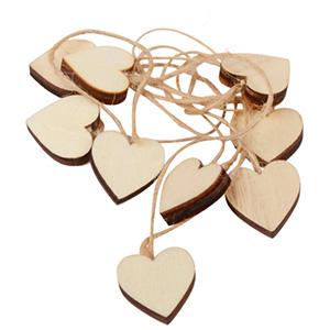 Coeur en bois sur ficelle rustique, 24 pièces. Bois / Ficelle de jute 20 x 20 20 x 20 mm