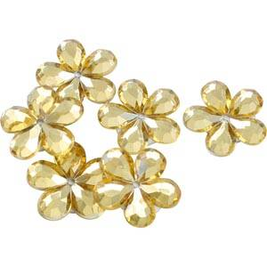 Petites fleurs adhésives brillantes, 150 pcs Plastique brillant doré  x 18