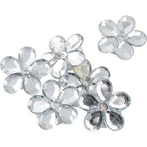 Petites fleurs adhésives brillantes, 150 pcs Plastique brillantd'argent  x 18
