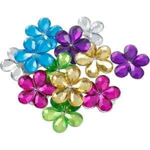Petites fleurs adhésives brillantes, 150 pcs Plastique brillant, assortiment des couleurs  x 18