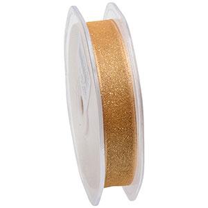Ruban pailleté en organza, étroit Or avec des paillettes d'or  16 mm x 20 m