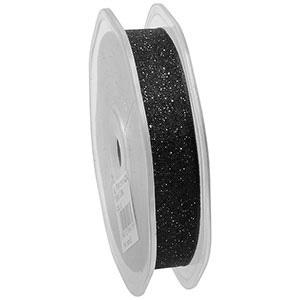 Glitter Organza ribbon, narrow Black  16 mm x 20 m