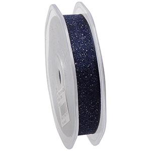 Glitter Organzalint, smal Donkerblauw  16 mm x 20 m