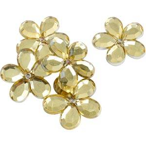150 szt. dużych kwiatków Kolor złoty  Ø 25 mm