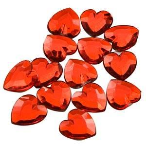 Cœurs adhésives brillants, 150 pcs Plastique brillant rouge  x 15