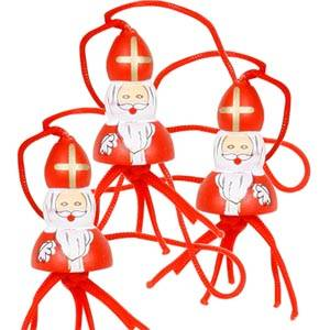 Lot 50 pères Noël bois avec cordelette, 15 mm