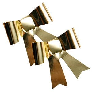 100 Ready-made Bows Gold, with sticker 42 x 40