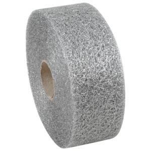 Mønstret metallic tyl Sølv  50 mm x 50 m