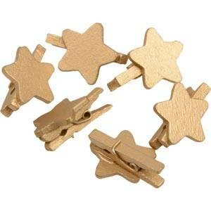 Wooden star on clip, 150 pcs.