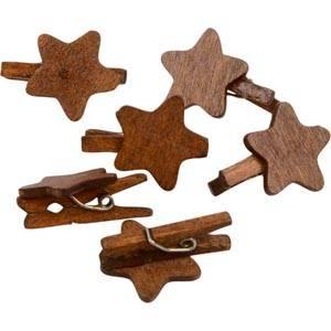 Træstjerner på klemmer, 150 stk.