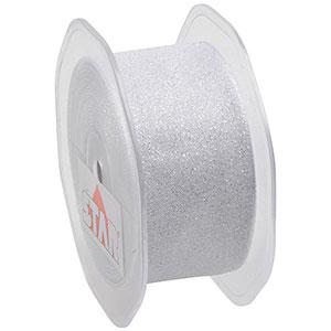 Glitterband Organza Silber  38 mm x 15 m