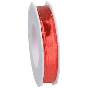 Metaliczna wstążka Kolor czerwony, wąska  15 mm x 20 m