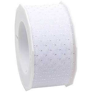 Organza ribbon with polka dots White with silver dots  40 mm x 20 m