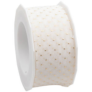 Organza ribbon with polka dots Cream with golden dots  40 mm x 20 m