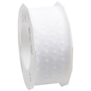 Tulle Ribbon with Polka Dots White ribbon with white polka dots  40 mm x 25 m