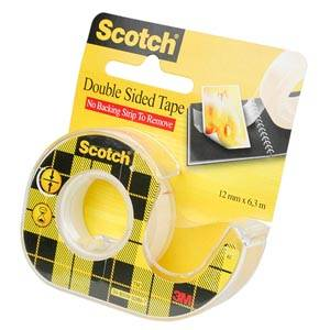Dubbelzijdig plakband, Scotch Transparant, in houder  12 mm x 6,3 m