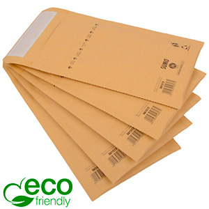 Milieuvriendelijke enveloppen, klein Bruin - luchtkussenenvelop, 100% gerecycled papier 135 x 215 (210 x 112 mm)
