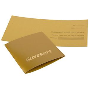 Chèque-cadeau, 100 pcs (texte Danoise) Carton en couleur or 70 x 70 DK