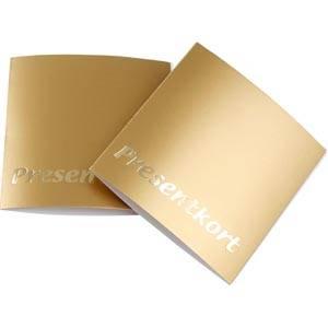 Chèque-cadeau, 100 pcs (texte Suédois) Carton en couleur or 70 x 70 SE