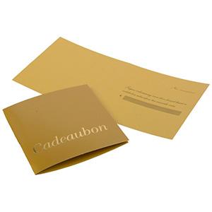 Chèque-cadeau, 100 pcs (texte Hollandois) Carton en couleur or 70 x 70 NL