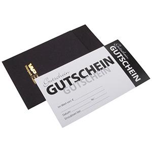 Gavekort med kuvert, 100 stk. Sort karton/ Hvid karton fortrykt med tysk tekst 150 x 80 DE