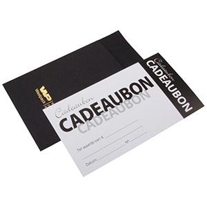 Moderne cadeaubon met envelop, 100 st. Witte cadeaubon, Nederlandse tekst/ Zwarte envelop 150 x 80 NL