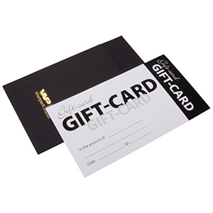 Gift-certificate with Envelope, 100 pcs. Black Envelope/ White Gift-card with English text 150 x 80 UK