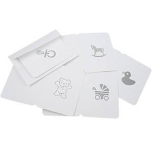 100 Cadeaukaartjes, Baby Wit met zilver print 60 x 80