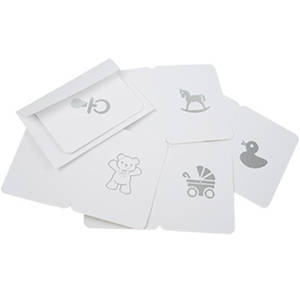 Gift Tags Baby theme, 100 pcs. White cardboard with silver print 60 x 80