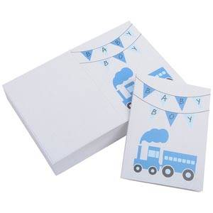 Gift Enclosure Card Baby Boy, 100 pcs White Cardboard with Blue Print Train 60 x 80