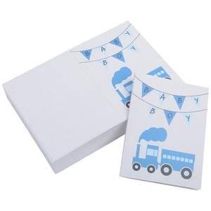 Gift Enclosure Card Baby Boy, 100 pcs White Cardboard with Blue Print Train 60 x 80