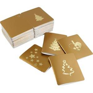 Luxury Gift Enclosure Cards for Christmas, 100 pcs Gold Card with metallic Gold Print. 45 x 55