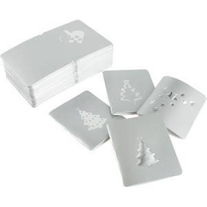 Luxe cadeaukaartjes kerst, 100 st. Zilver 45 x 55