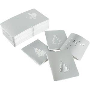 Luxury Gift Enclosure Cards for Christmas, 100 pcs Silver card with metallic silver print. 45 x 55