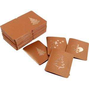 Luxury Gift Enclosure Cards for Christmas, 100 pcs Copper card with metallic copper print. 45 x 55