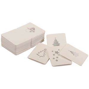 Luxury Gift Enclosure Cards for Christmas, 100 pcs White card with metallic silver print. 45 x 55