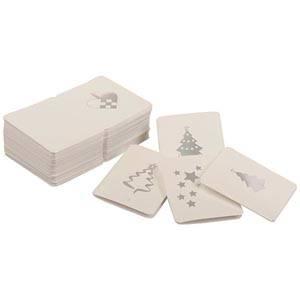 Luxury Gift Cards for Christmas, 100 pcs. Hvid m. sølvprint 45 x 55 mm