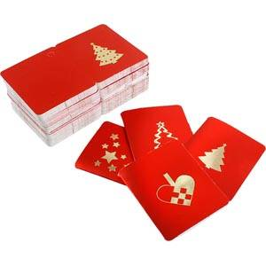 Luxury Gift Enclosure - Christmas, 100 pcs Red card with metallic gold print. 45 x 55