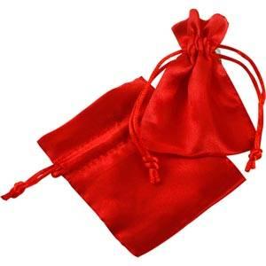 Satijnen sieradenzakje, mini Rood satijn met bijpassend trekkoord 75 x 90