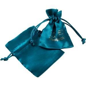 Satijnen sieradenzakje, mini Petrol blauw satijn met bijpassend trekkoord 75 x 90