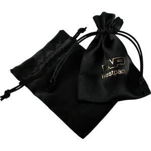 Satijnen sieradenzakje, klein Zwart satijn met bijpassend trekkoord 90 x 120